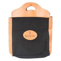 GUCCI VINTAGE Black Felt TOTE Handbag SHOPPING BAG Purse RARE