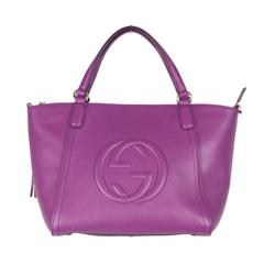 Gucci Purple Leather Soho Tote Handbag with Strap