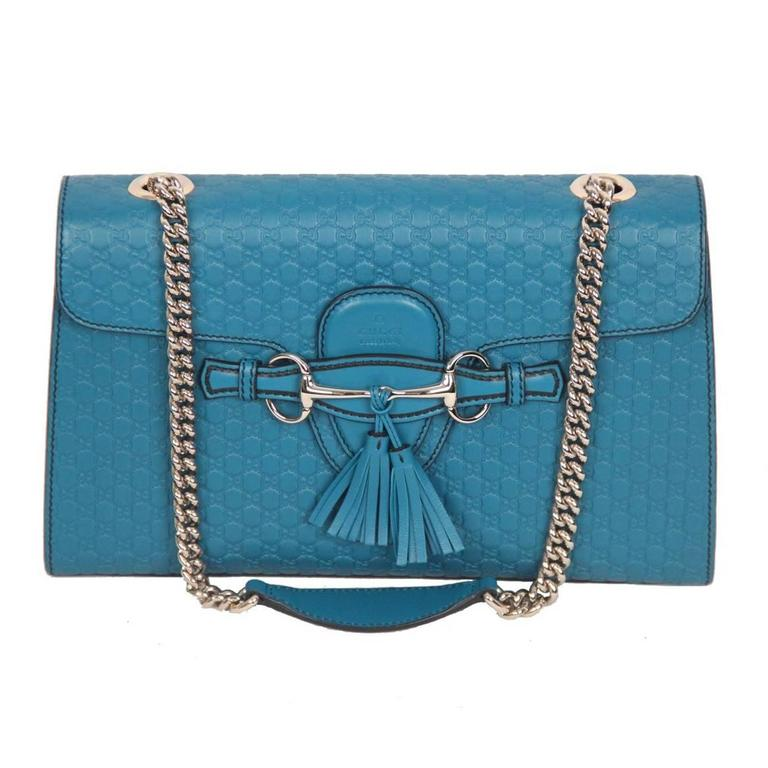 5388eb9fbfa0 GUCCI Turquoise MICROGUCCISSIMA Leather EMILY Shoulder Bag at 1stdibs