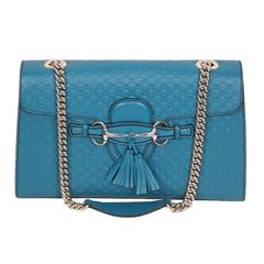 GUCCI Turquoise MICROGUCCISSIMA Leather EMILY Shoulder Bag