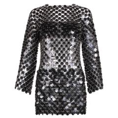 1969 Paco Rabanne Black Rhodoid Disc Mini Dress