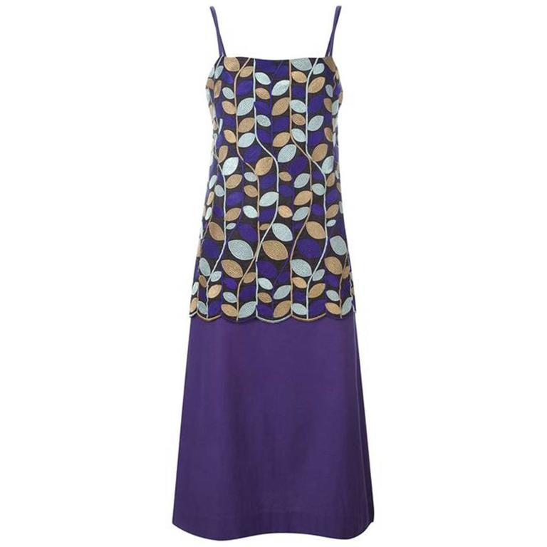 1996's Comme des Garcons Embroidered Purple Silk Dress