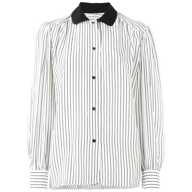 Saint Laurent Black and White Silk Pussy Bow Shirt
