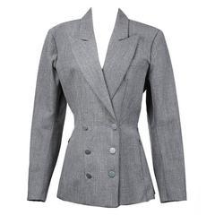 Alaia Grey Double Breasted Blazer circa 1980s