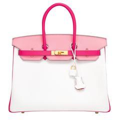 Hermes HSS Tri-Color Rose Tyrien, Rose Confetti, White Epsom Birkin 35cm