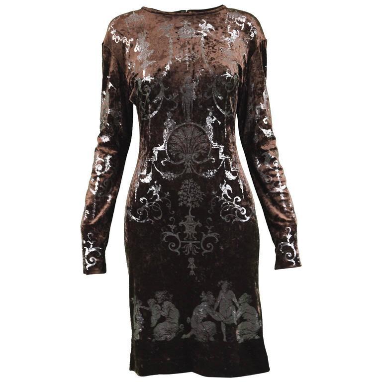 "Vivienne Westwood Brown Velvet ""Portrait Collection"" Dress, Fall 1990"