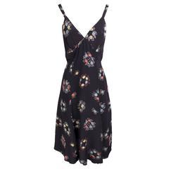 Ossie Clark Silk Chiffon Floral Print Dress circa 1970s