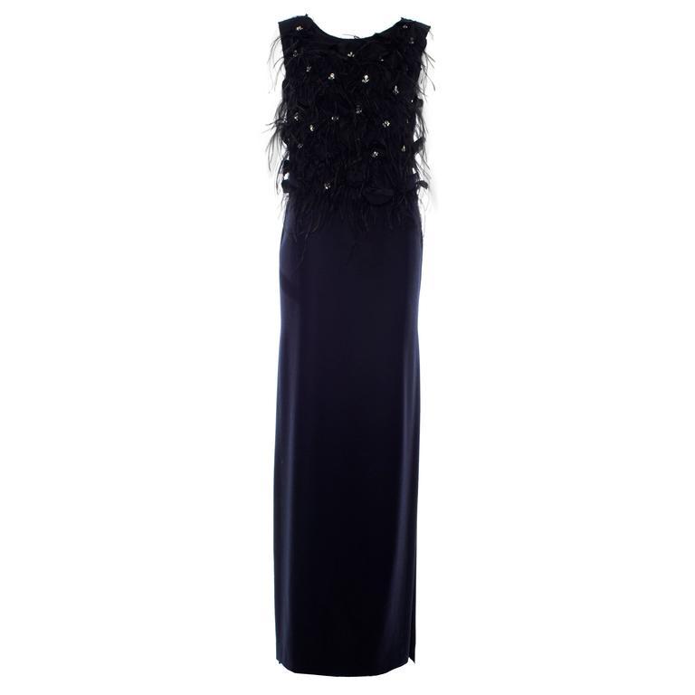 Dries Van Noten Navy Blue Wool Black Silk Chiffon Feathers Dress, Fall 2013