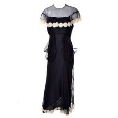 1930s Black Organza Vintage Dress Ivory Lace Applique Evening Gown