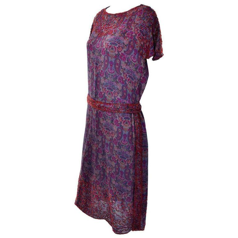1920s Vintage Beaded Purple Paisley Dress With Red Beads