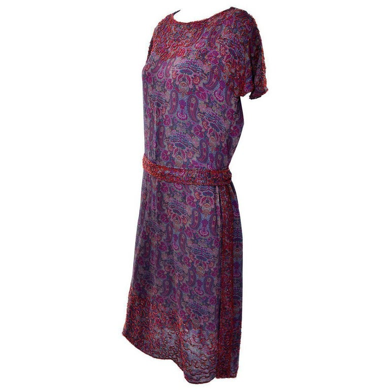1920s Vintage Beaded Purple Paisley Dress With Red Beads For Sale