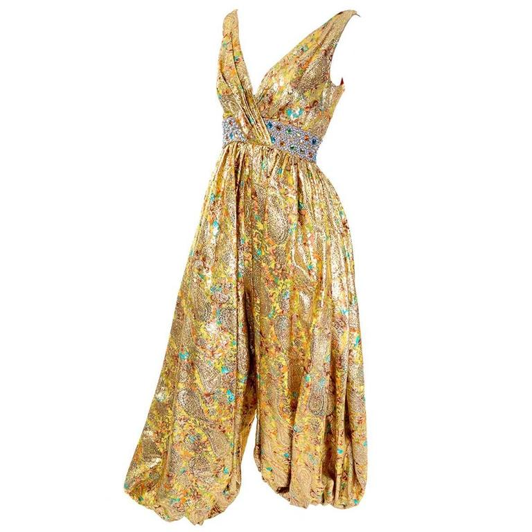 709dcc0545f 1960s Gold Metallic Harem Vintage Jumpsuit Jeweled Waist 6 8 at 1stdibs