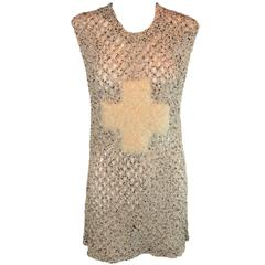1980's Boy London Punk Rock Cross Knit See Through Tunic Mini Dress