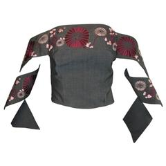 S/S 2001 Voss Alexander McQueen Japanese Embroidered Bustier Crop Top