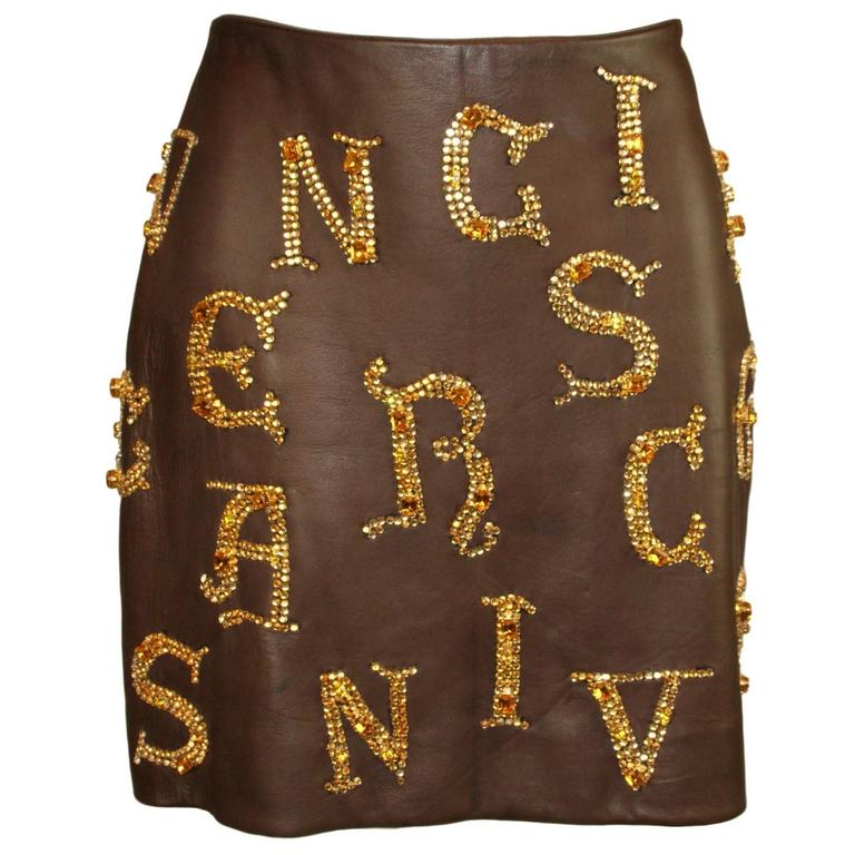 F/W 1997 Atelier Versace Runway by Gianni Crystal Beaded Leather Mini Skirt