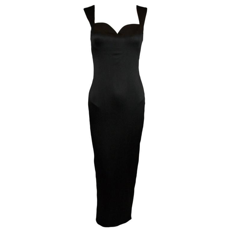 F/W 1995 Gianni Versace Black Silk Wiggle Gown Dress  1
