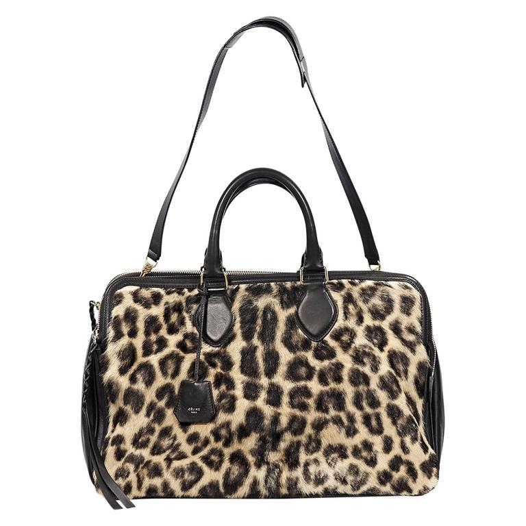 Celine Leopard-Print Fur & Leather Satchel 1
