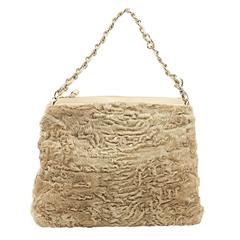 Tan Vintage Chanel Persian Fur Bag