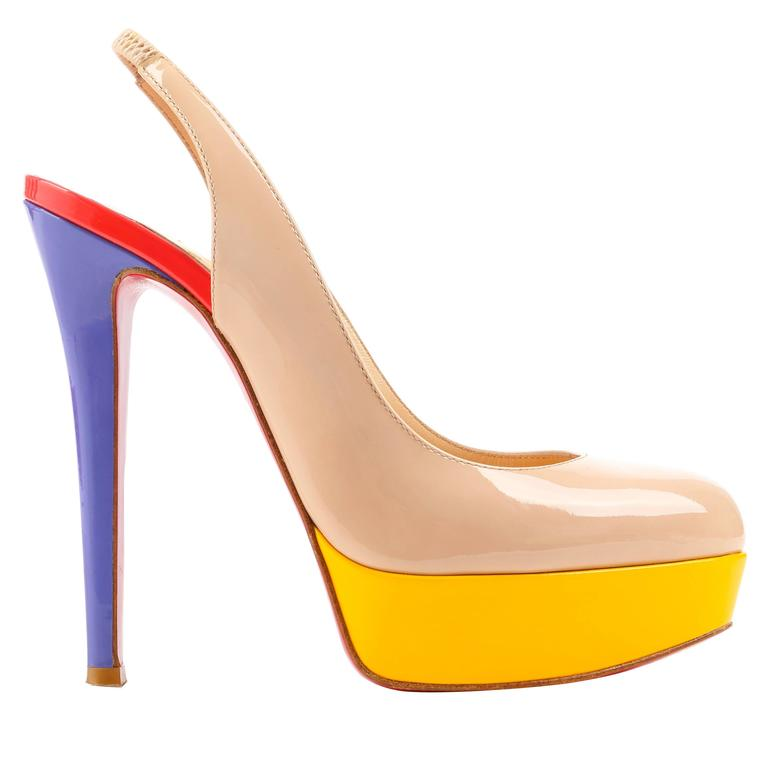 8c07a56117b6 CHRISTIAN LOUBOUTIN Bianca Multi Color Slingback Platform Pumps High Heels  Shoes For Sale