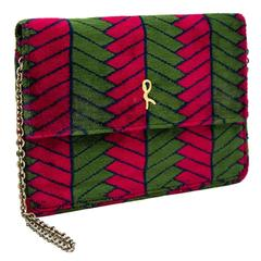 1970's Roberta Di Camerino Green and Magenta Velvet Clutch