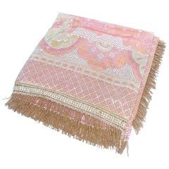 Italian Luxurious Pink Silk Floral Fringe Spread ca 1950