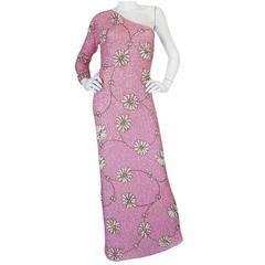c1965 Gene Shelly Densely Sequined Pink One Shoulder Dress