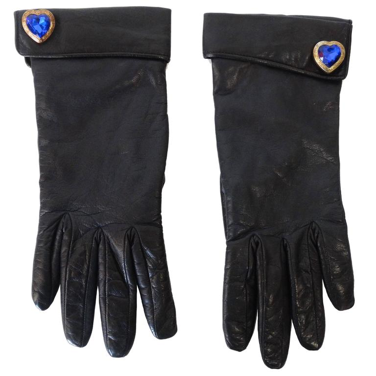 1990s Moschino Navy Leather Gloves