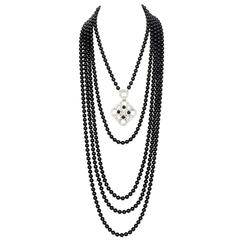 Chanel 2016 Black Beaded 5 Strand Necklace w/ Crystal CC Camellia