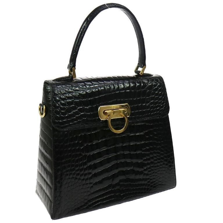 Salvatore Ferragamo Black Rare Kelly Evening Top Handle Satchel Bag For Sale 555cf1705a