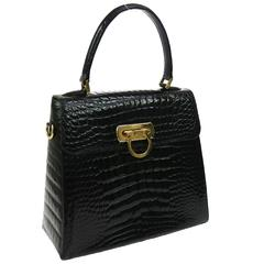 Salvatore Ferragamo Black Rare Kelly Evening Top Handle Satchel Bag