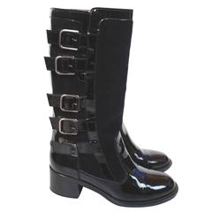 CHANEL Black Patent Leather Multi Buckle Boots 36.5 UK 3.5
