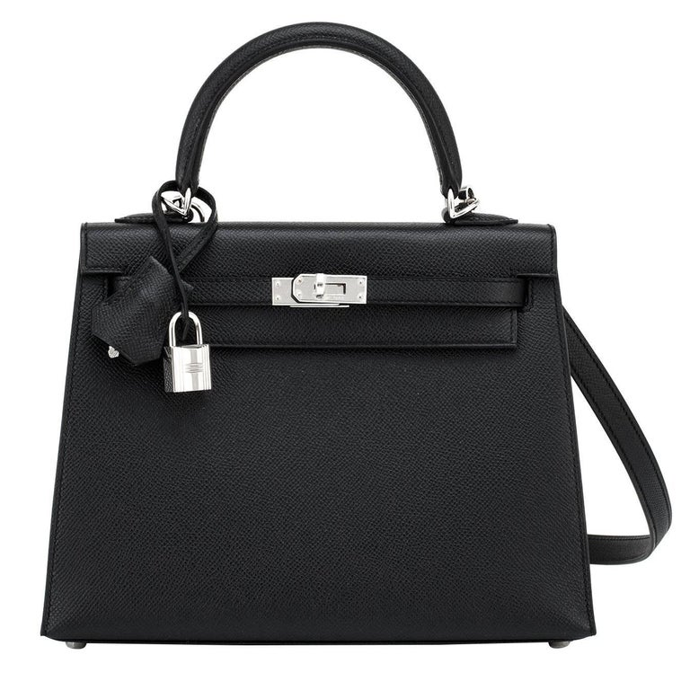 Hermes Jet Black 25cm Epsom Sellier Palladium Jewel Kelly Bag For Sale