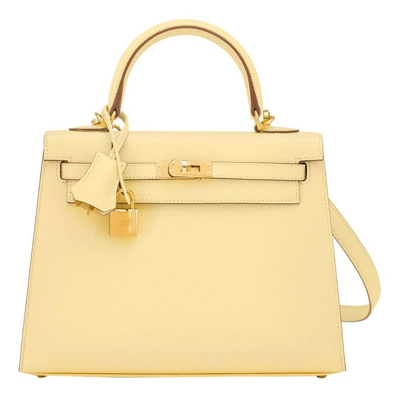 Hermes 25cm Jaune Poussin Sellier Epsom Kelly Gold Jewel
