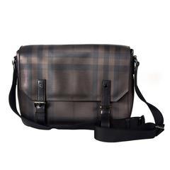 Burberry Messenger Bag - Brown Plaid PVC & Leather Black Shoulder Unisex
