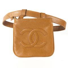 Chanel Caviar Belt Bag - Tan Leather CC Logo Vintage Caramel Waist Handbag Beige