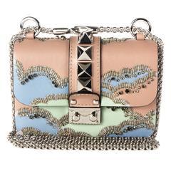 Valentino Bag - New - Pink Glam Lock Crystal Bead Rockstud Studded Handbag Bag
