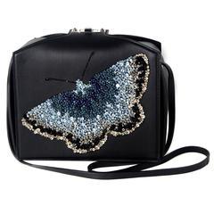 Alexander McQueen Shoulder Bag New - Butterfly Crystal Black Leather Box Handbag