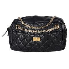 Chanel Reissue Camera Shoulder Bag - Black Quilted Leather CC Chain Gold Handbag