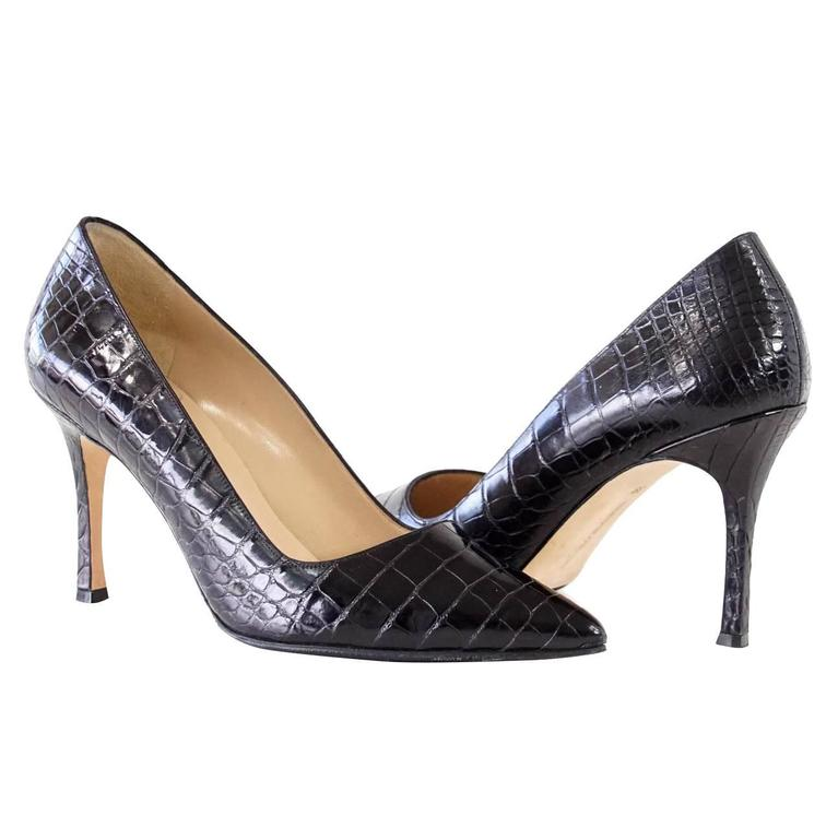 Manolo Blahnik Shoe Timeless Black Alligator Pump 39 / 9 ...
