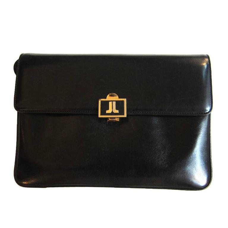 Lanvin Black Leather Box Shoulder Bag 70s For