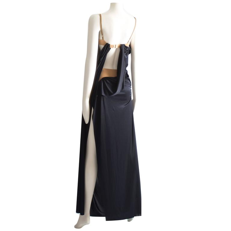 Margiela midnight blue draped evening dress, Spring-Summer 2012 1