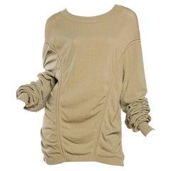 1980S AZZEDINE ALAIA Beige Cotton Blend Oversized Slouchy Sweater