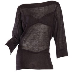 ALAIA Chocolate Brown Mohair,  Knit Oversized Sheer Faux-Bra Sweater