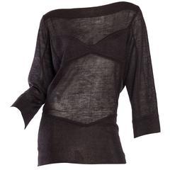 Alaia Linen Sheer Faux-Bra Sweater Mini-Dress
