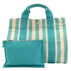 Hermes Cannes PM Cyan x Ivory Canvas Tote Hand Bag