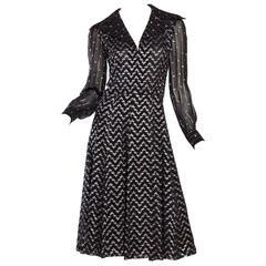 1970s Sheer and Metallic Flowy Little Black Dress