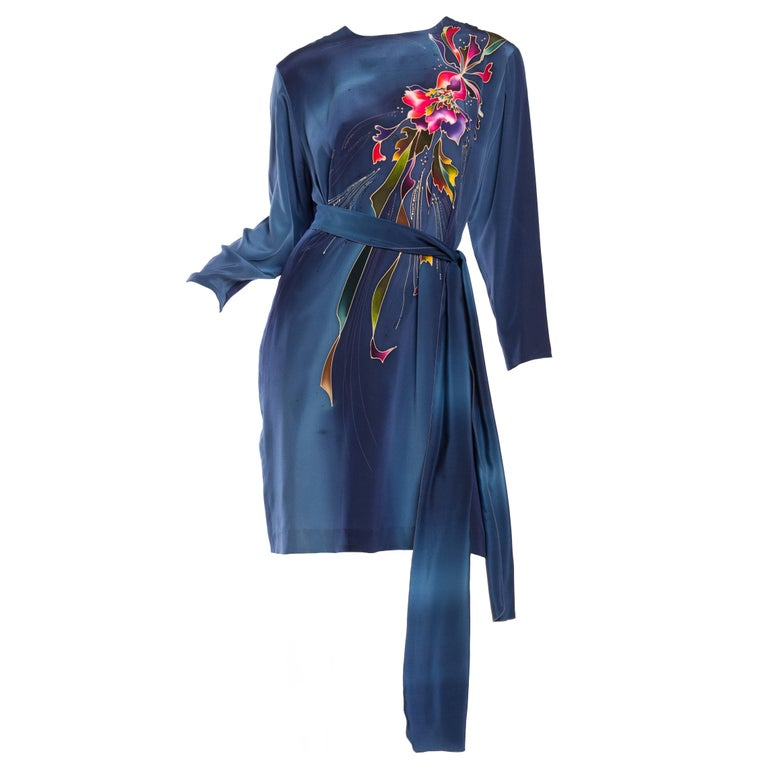 1980S Blue  & Pink Silk Crepe De Chine Hand Painted Tunic Dress For Sale