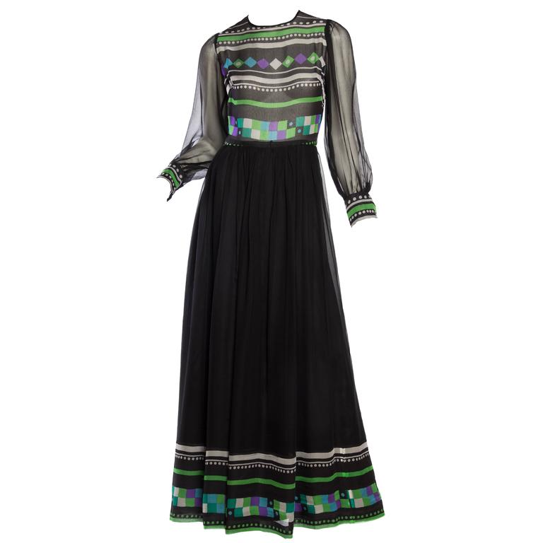 Sheer Silk Chiffon 1970s Maxi Dress