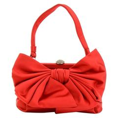 Valentino Red Satin Bow Evening Hand Bag