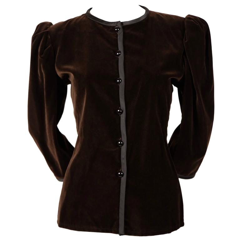 1970's YVES SAINT LAURENT brown velvet jacket with black satin trim